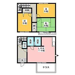 [テラスハウス] 愛知県名古屋市緑区鳴丘1丁目 の賃貸【愛知県 / 名古屋市緑区】の間取り