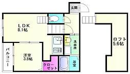 福岡県福岡市博多区銀天町1の賃貸アパートの間取り