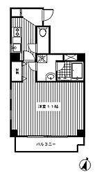東急東横線 中目黒駅 徒歩5分の賃貸マンション 2階1Kの間取り