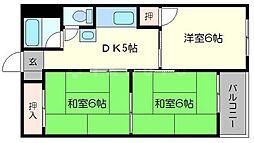 桃山台コーポラス[2階]の間取り