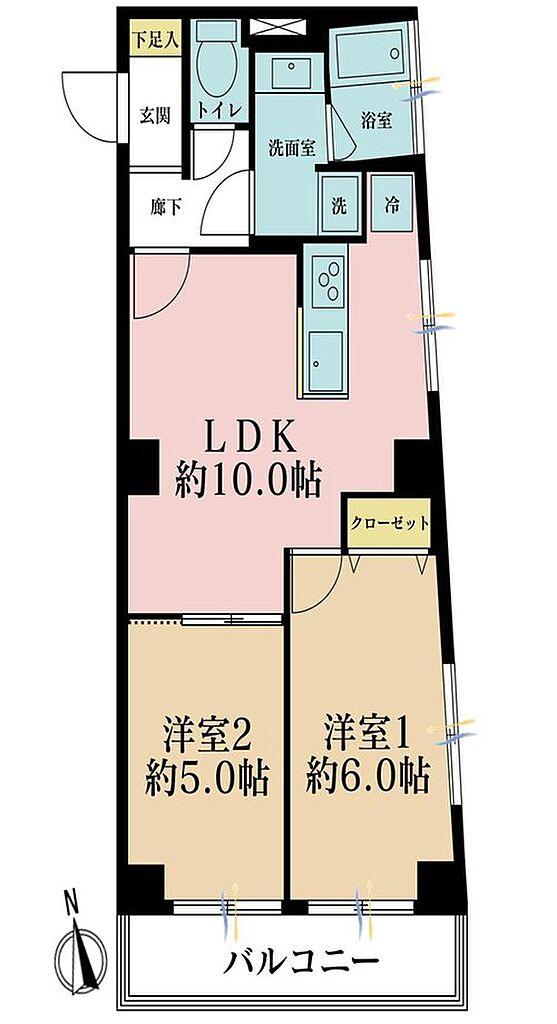 間取り(2LDK、価格2480万円、専有面積48.07m2、バルコニー面積5.4m2 )