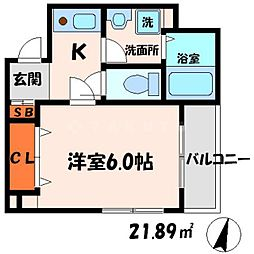 ドゥジェームシマ[4階]の間取り