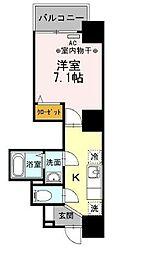 都営浅草線 人形町駅 徒歩7分の賃貸マンション 2階1Kの間取り