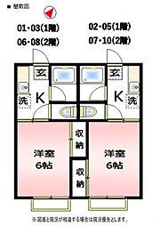 第1コーポ萩山[2号室号室]の間取り