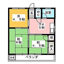 ハイツ岡田[3階]の間取り