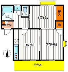 東京都立川市錦町6丁目の賃貸アパートの間取り