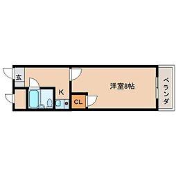 近鉄天理線 天理駅 徒歩8分の賃貸マンション 1階1Kの間取り