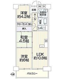 サニーコーポ東三国[3階]の間取り