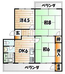 井堀南団地 4号棟[2階]の間取り