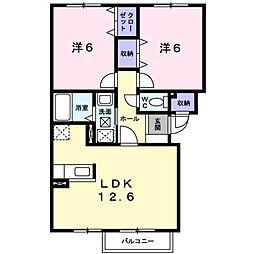 北海道滝川市新町5丁目の賃貸アパートの間取り