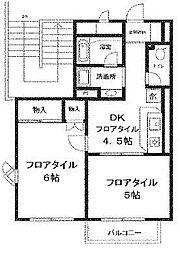 埼玉県さいたま市浦和区元町2丁目の賃貸アパートの間取り