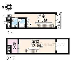 阪急京都本線 西院駅 徒歩3分の賃貸マンション 1階1LDKの間取り