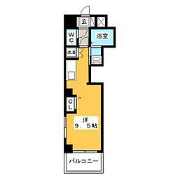 レグルス三ノ輪 4階ワンルームの間取り
