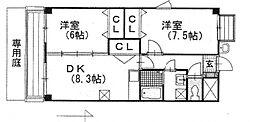 アーヴァンシティー中島田[402号室号室]の間取り