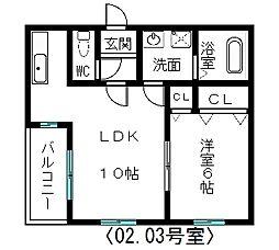 ピュアフラット12[202号室]の間取り