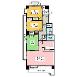 サンアメニティ竜美南[4階]の間取り