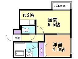 ル・ファール麻生 4階1DKの間取り