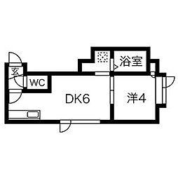北海道札幌市北区北28条西7丁目の賃貸アパートの間取り