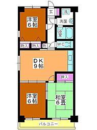 ソレイユ平野[4階]の間取り