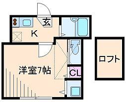 神奈川県横浜市港北区高田東4丁目の賃貸アパートの間取り