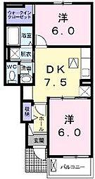 香川県綾歌郡宇多津町大字東分の賃貸アパートの間取り