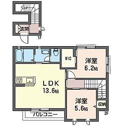 (仮)フラワーハウスC[2階]の間取り