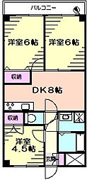 フラワーマンション片倉[4階]の間取り