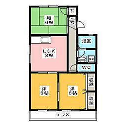 愛知県豊橋市東小鷹野1丁目の賃貸アパートの間取り