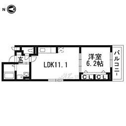 エリシオン・レジデンスIII 1階1LDKの間取り