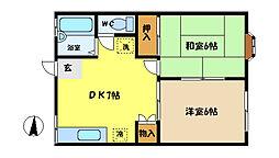 埼玉県さいたま市中央区本町東2丁目の賃貸アパートの間取り