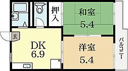 京都府城陽市富野高井の賃貸アパートの間取り