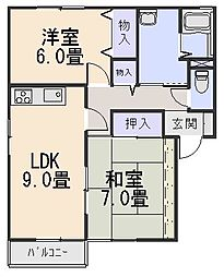 ガーデンスクエア祝園 A棟[1階]の間取り