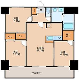 アルティザ仙台花京院 5階3LDKの間取り