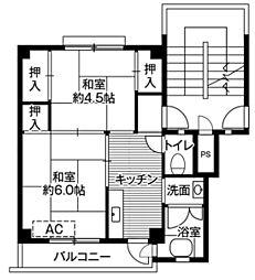 ビレッジハウス額原2号棟5階Fの間取り画像