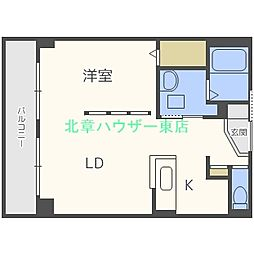 札幌市営東豊線 栄町駅 徒歩4分の賃貸マンション 4階1LDKの間取り
