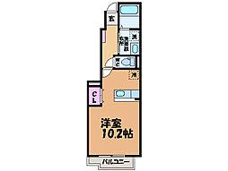 愛媛県松山市北土居2丁目の賃貸アパートの間取り