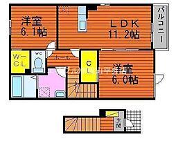 岡山県玉野市奥玉1丁目の賃貸アパートの間取り