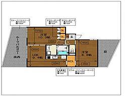 ラクレイス西新レジデンシャルタワー[314号室]の間取り