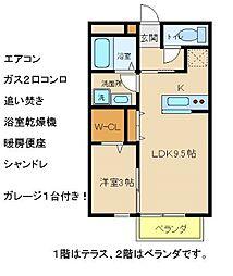 兵庫県明石市林崎町3丁目の賃貸アパートの間取り