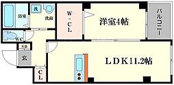 レジデンス高千穂 3階1LDKの間取り