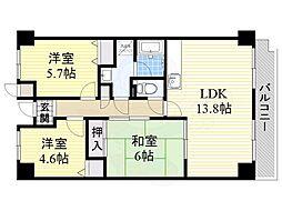 北大阪急行電鉄 桃山台駅 徒歩8分の賃貸マンション 1階3LDKの間取り