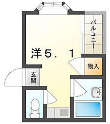 メゾンAKINAI千林 1階ワンルームの間取り
