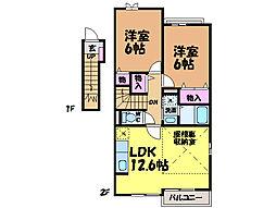愛媛県松山市北久米町の賃貸アパートの間取り