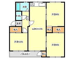 兵庫県神戸市垂水区神陵台2丁目の賃貸マンションの間取り