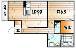 福岡県遠賀郡水巻町猪熊3の賃貸アパートの間取り