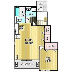 愛知県名古屋市中川区吉津3の賃貸アパートの間取り