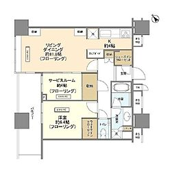 JR総武線 飯田橋駅 徒歩3分の賃貸マンション 31階1SLDKの間取り