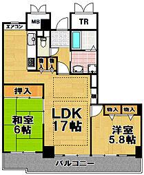 酉島リバーサイドヒルなぎさ街20号棟 24階2LDKの間取り