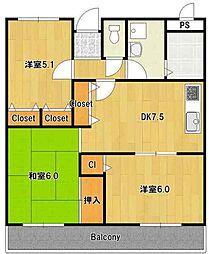 大阪府和泉市唐国町3丁目の賃貸マンションの間取り