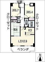 プレステージ花水木II[2階]の間取り
